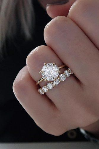 cheap engagement rings wedding set round cut band simple
