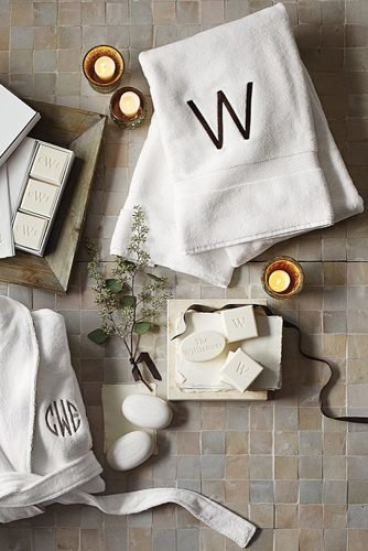 engagement gifts monogrammed soaps and towels