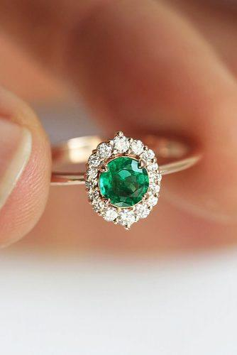 engagement ring round cut green gemstone halo rose gold