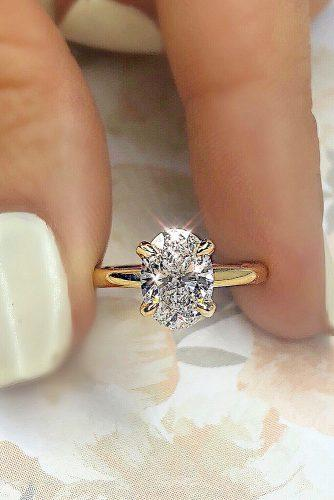 engagement ring solitaire oval cut diamond gold