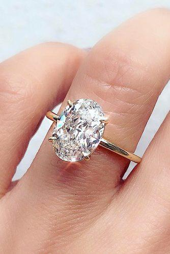 engagement ring solitaire oval cut diamond rose gold