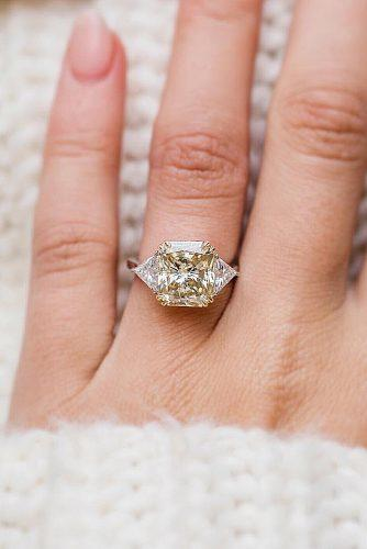 engagement ring three stones yellow diamond gold