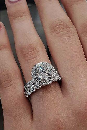 engagement ring trends 2019 halo wedding set diamond pave band