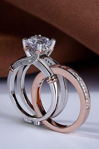 engagement ring trends 2019 modern unique wedding set two tone