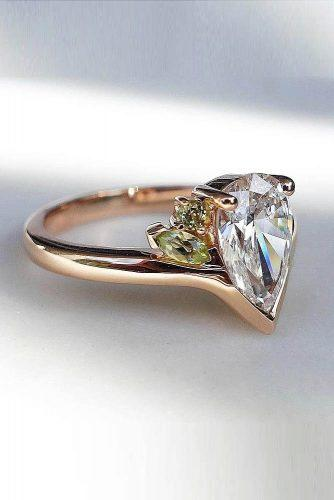 engagement ring trends 2019 pear cut three stones modern unique gold