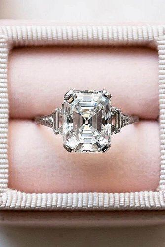 engagement ring trends 2019 three stones emerald cut diamond modern