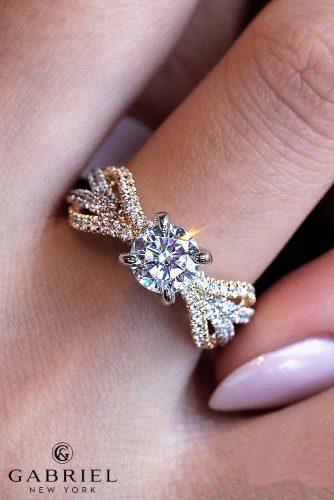 engagement ring trends 2019 split diamond pave bands round cut yellow and white gold