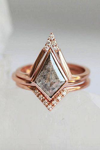 engagement ring unique rose gold grey diamond