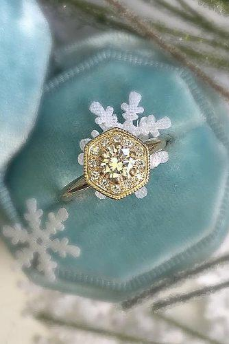 engagement ring vintage yellow gold halo