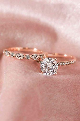 engagement ring wedding set rose gold round cut pave band