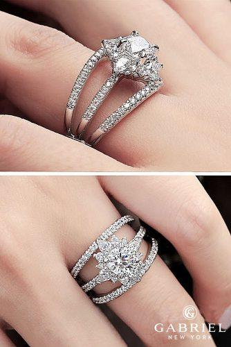 gabriel co engagement rings unique pave band round cut white gold floral halo