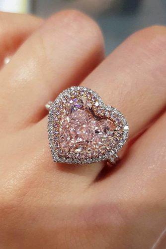 gold engagement rings heart cut halo pink diamond