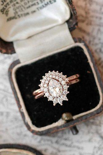 gold engagement rings pear cut rose gold unique halo