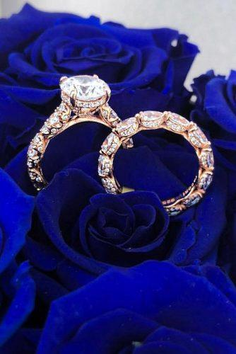 gold engagement rings rose gold solitaire cathedral wedding set