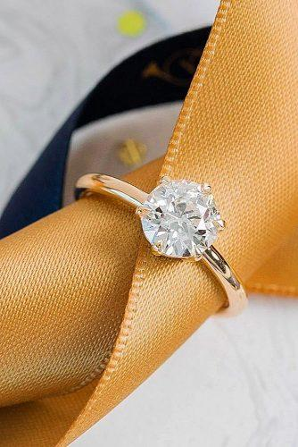 gold-engagement-rings-simple-diamond round cut solitaire
