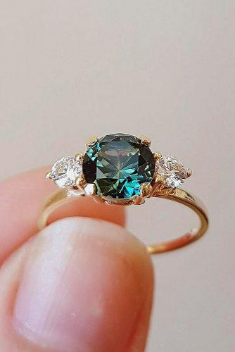 gold engagement rings three stones round cut gemstone