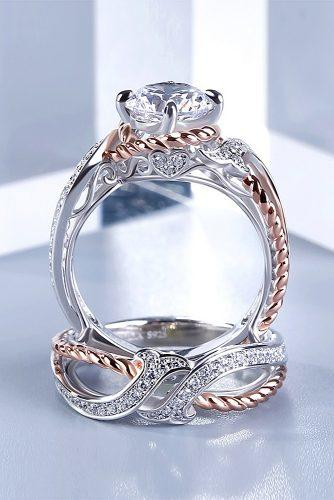 gold engagement rings two tone white rose gold