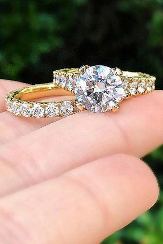 gold engagement rings wedding set yellow gold round cut pave band