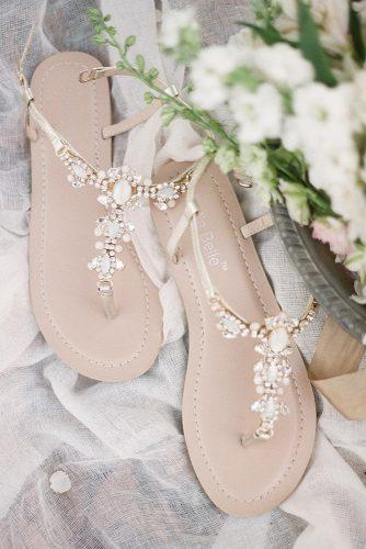 gorgeous bridal shoes sandals with stones for beach bellabelleshoes