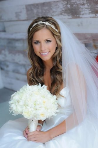 half up half down wedding hairstyles curly side half updo with lacy viel and tiara jim kennedy photographers