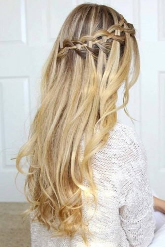 half up half down wedding hairstyles diagonal waterfall braid with cascading curls on long blonde hair missysueblog