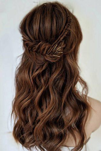 half up half down wedding hairstyles ideas braided on long brown hair blushandmane