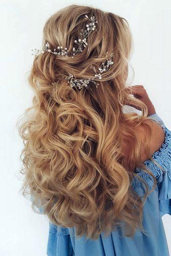 half up half down wedding hairstyles ideas long blonde hair with curls and silver accessories ksenya_makeup