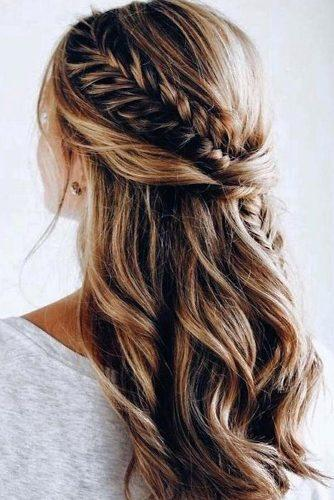 half up half down wedding hairstyles ideas long brovn with braids anarabyanalerida