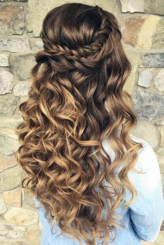 half up half down wedding hairstyles ideas long volume curly hair with braided crown updosbykarina