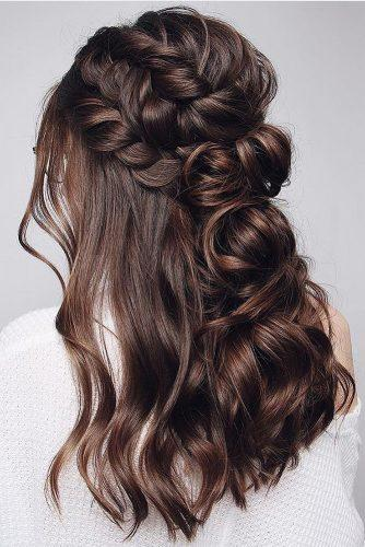 half up half down wedding hairstyles ideas on dark medium hair with braids blushandmane