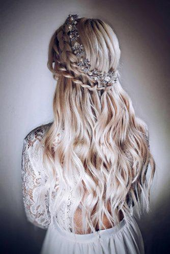half up half down wedding hairstyles ideas on long wavy blonde with swept braids and silver halo sp_boutique_mansfield