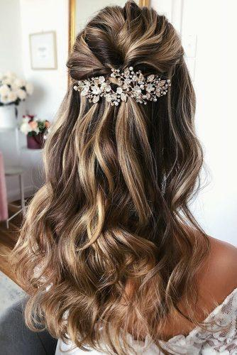 half up half down wedding hairstyles ideas simple and elegant with silver hair pin on long blonde hair caraclyne.bridal