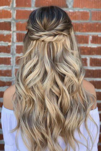 half up half down wedding hairstyles ideas simple elegant on blonde hair knoxvillebridalhair