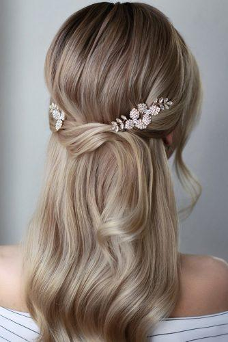 half up half down wedding hairstyles ideas simple modern on blonde hair with accessory lenabogucharskaya