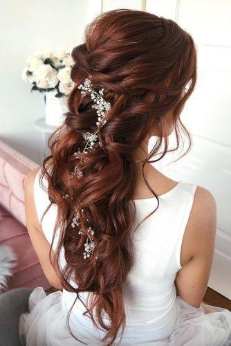 half up half down wedding hairstyles ideas swept half up half down on red hair with long silver pin caraclyne.bridal