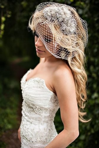 half up half down wedding hairstyles side parted half updo on blonde long hair with lacy veil thehonsphoto