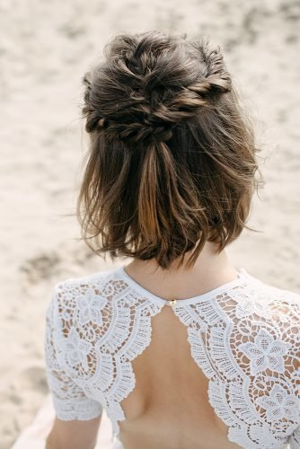 half up half down wedding hairstyles simple twist half updo on frown short hair sjlongworth