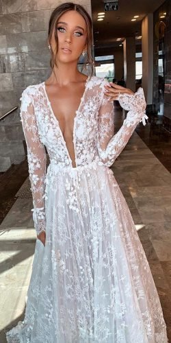 long sleeve wedding dresses a line deep v neckline lace berta