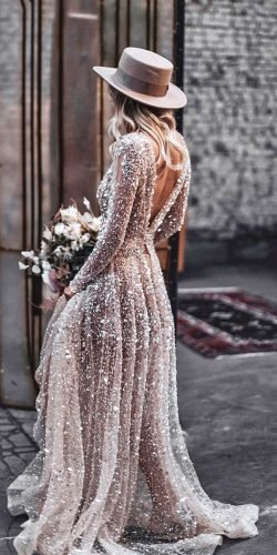 long sleeve wedding dresses a line v back sequins coutry tali photography