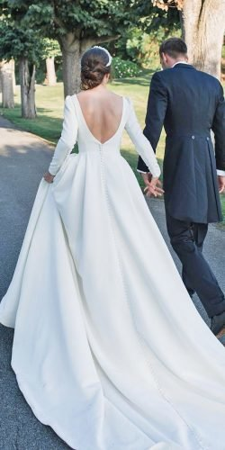 long sleeve wedding dresses ball gown v back simple train millanova