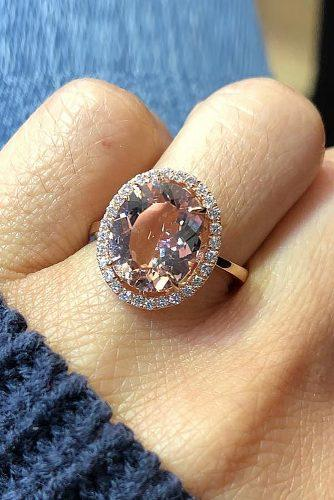 morganite engagement rings oval cut halo rose gold
