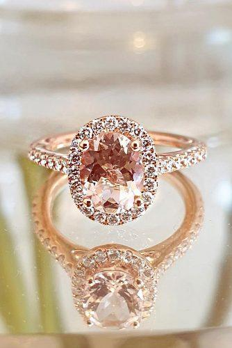 morganite engagement rings oval cut rose gold halo