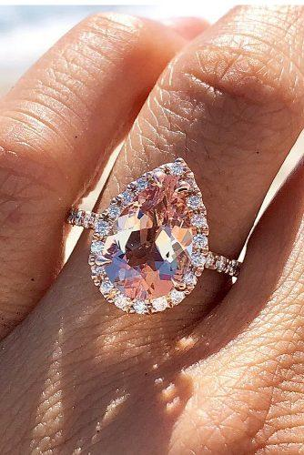morganite engagement rings pear cut halo pave band rose gold