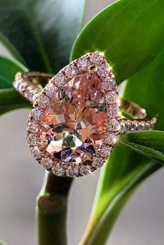 morganite engagement rings pear cut halo rose gold