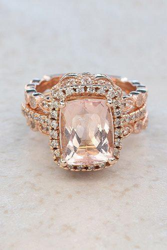 morganite engagement rings radiant cut halo wedding set rose gold
