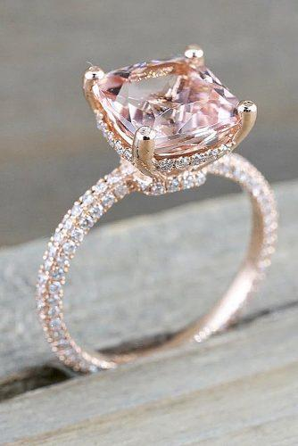 morganite engagement rings solitaire rose gold pave band