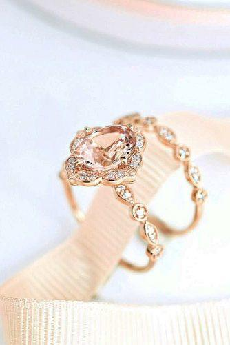 morganite engagement rings wedding set halo rose gold