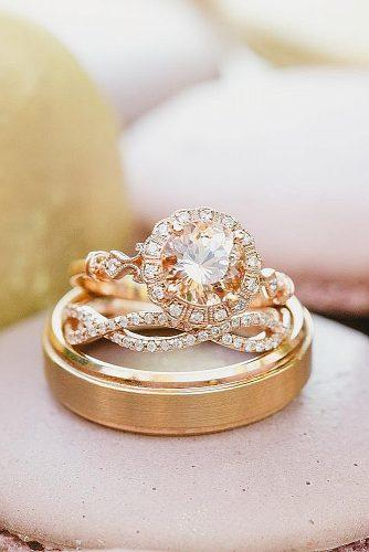 morganite engagement rings wedding set halo round cut
