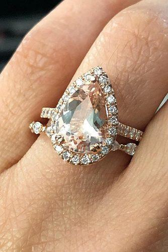 morganite engagement rings wedding set pear cut halo rose gold