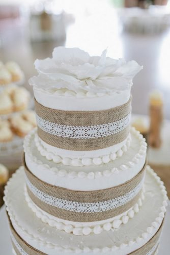 small rustic wedding cakes gentle white with cream and burlap morgan trinker photography